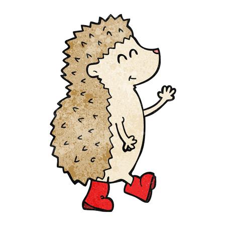 cartoon hedgehog: cute freehand textured cartoon hedgehog