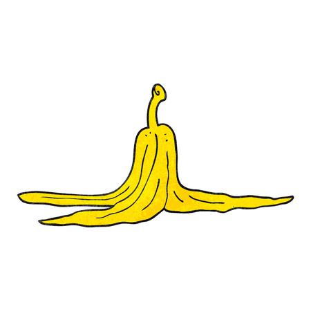 banana peel: freehand textured cartoon banana peel Illustration