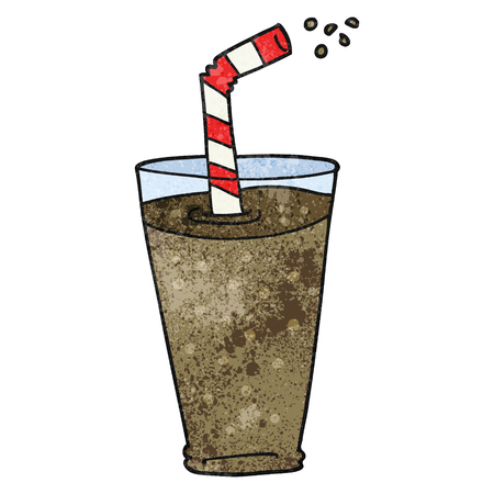 fizzy: freehand textured cartoon fizzy drink in glass