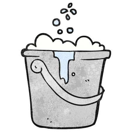 soap suds: freehand textured cartoon cleaning bucket Illustration