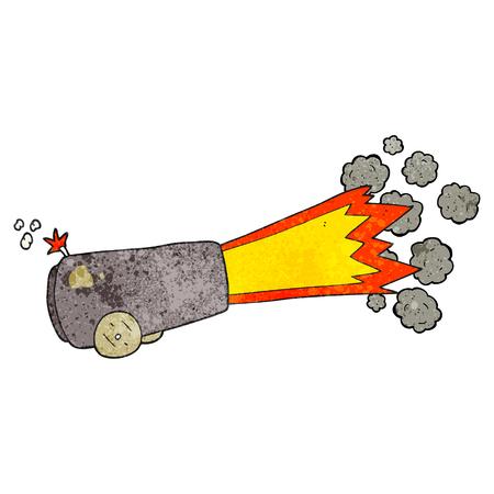 firing: freehand textured cartoon firing cannon