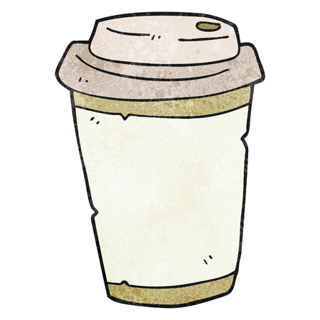 take out: freehand textured cartoon take out coffee