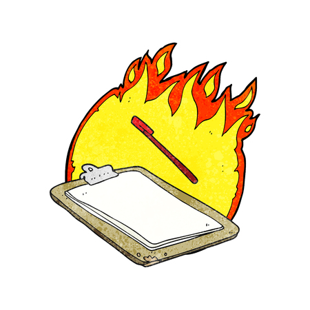 clip board: freehand textured cartoon clip board on fire