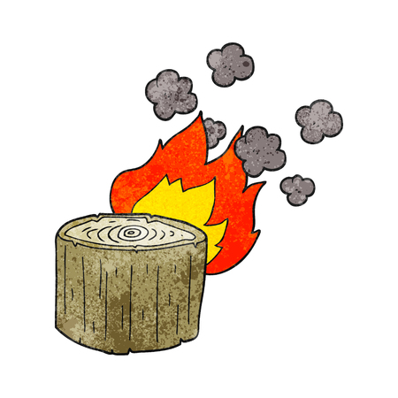 log on: freehand textured cartoon burning log