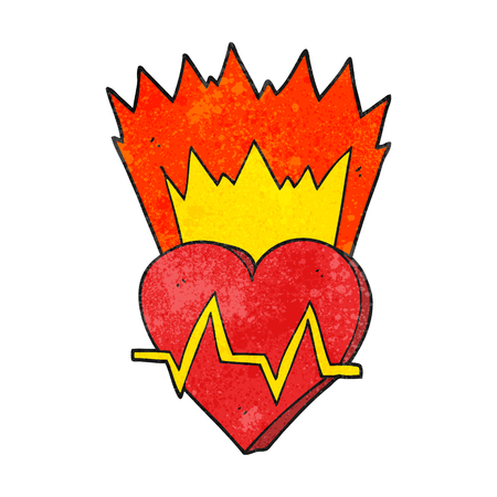 heart rate: freehand textured cartoon heart rate