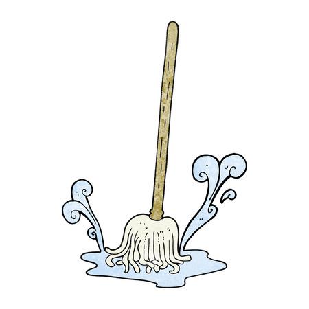 dweilen: uit de vrije hand geweven cartoon mop