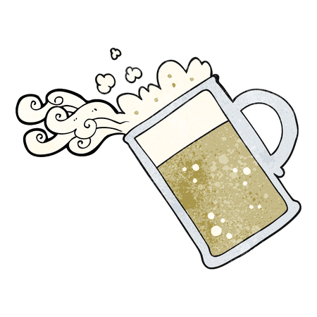 tankard: freehand textured cartoon pouring beer Illustration
