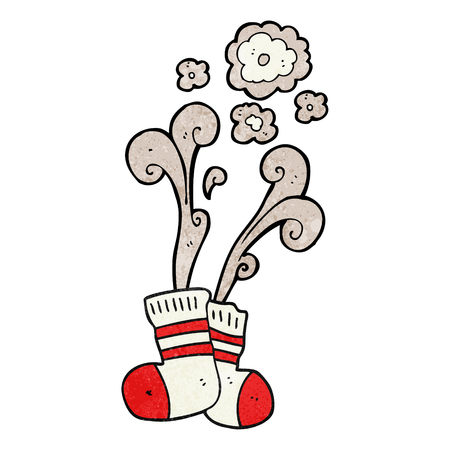 smelly: freehand textured cartoon smelly old socks Illustration