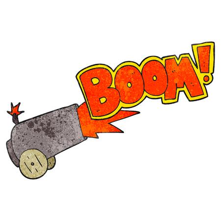 firing: freehand textured cartoon cannon firing