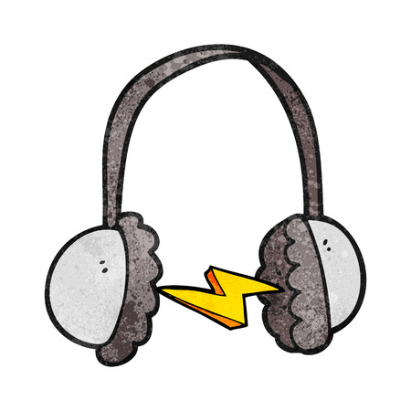 ear muffs: freehand textured cartoon headphones Illustration