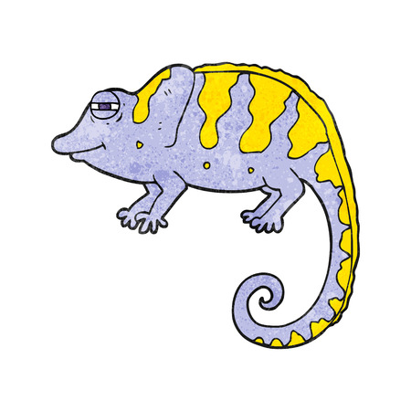 freehand textured cartoon chameleon