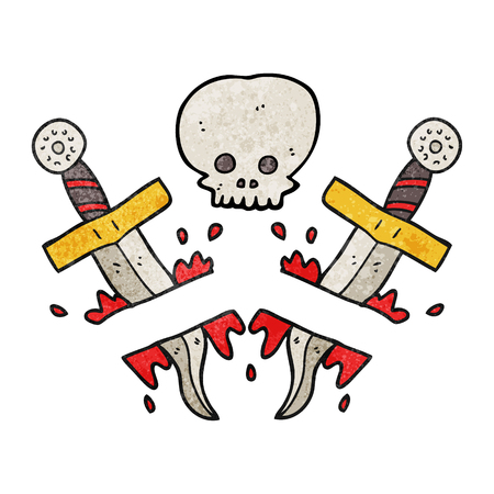 dagger: freehand textured cartoon dagger tattoo