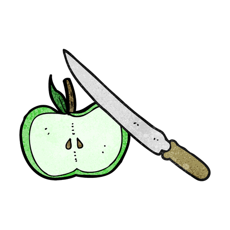 being: freehand textured cartoon apple being sliced