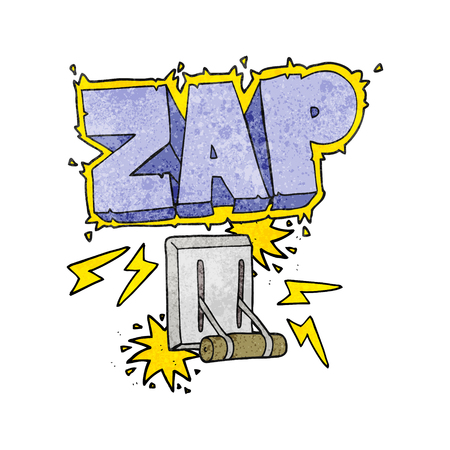 zapping: freehand textured cartoon electrical switch zapping Illustration