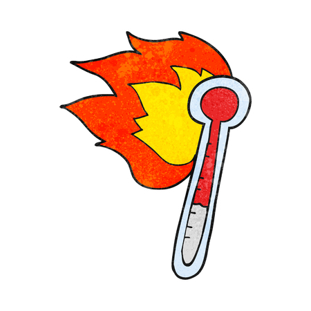 hot temperature: freehand textured cartoon temperature gauge getting too hot Illustration