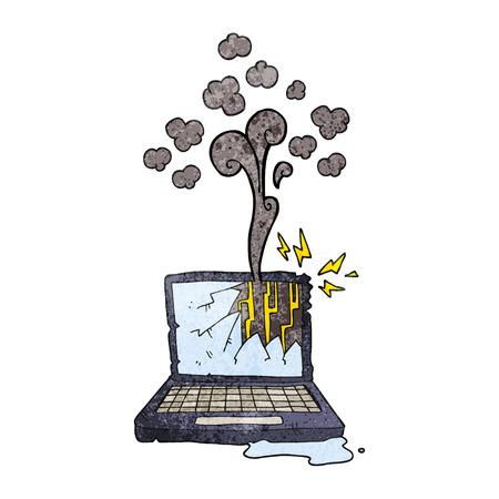 freehand textured cartoon broken computer