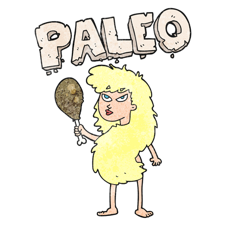 freehand textured cartoon woman on paleo diet