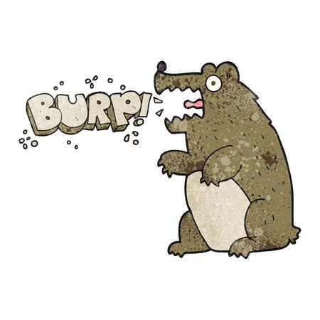 burping: freehand textured cartoon bear