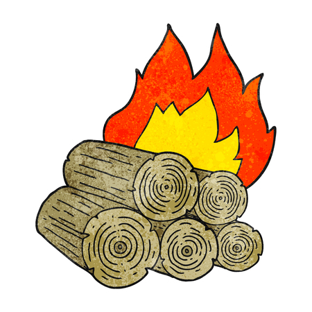 burning: freehand textured cartoon burning logs Illustration