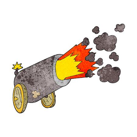 firing: freehand textured cartoon big cannon firing Illustration