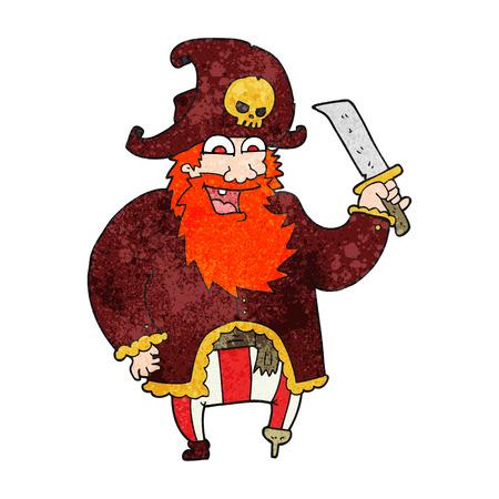 pirate captain: freehand textured cartoon pirate captain