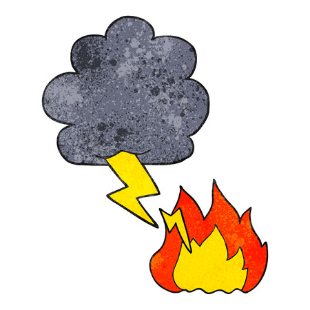 thundercloud: freehand textured cartoon thundercloud lightning strike Illustration