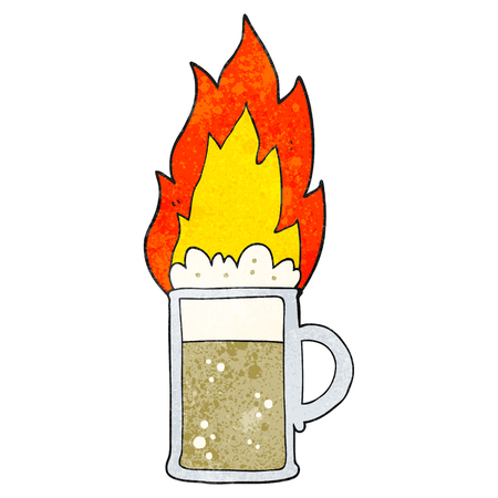 flaming: freehand textured cartoon flaming tankard of beer