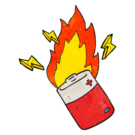 flaming: freehand textured cartoon flaming battery