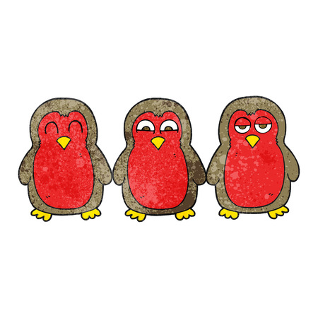 robins: freehand textured cartoon christmas robins holding hands Illustration