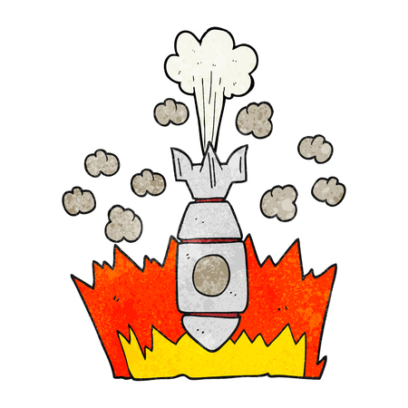cartoon bomb: freehand textured cartoon falling bomb