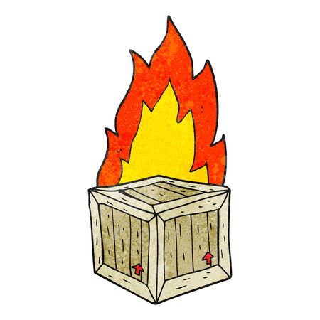 crate: freehand textured cartoon burning crate