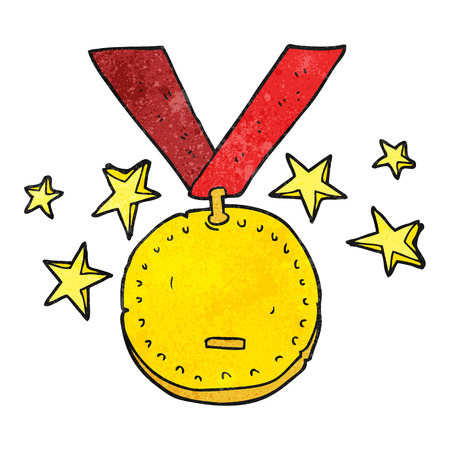 freehand textured cartoon sports medal