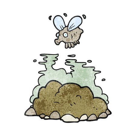 manure: freehand textured cartoon fly and manure Illustration