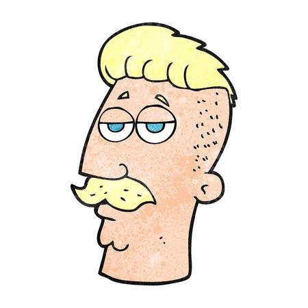 hair cut: freehand textured cartoon man with hipster hair cut