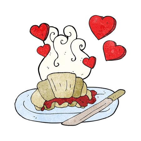 tasty: freehand textured cartoon tasty breakfast croissant