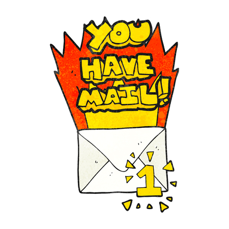 have on: freehand textured cartoon you have mail symbol Illustration