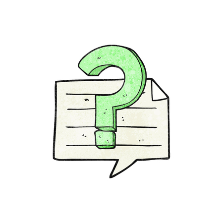 taking notes: freehand textured cartoon question mark speech bubble Illustration
