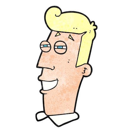 grinning: freehand textured cartoon grinning man