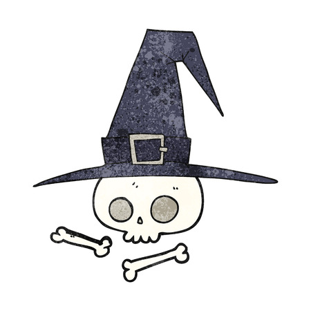 pointy hat: freehand textured cartoon witch hat with skull