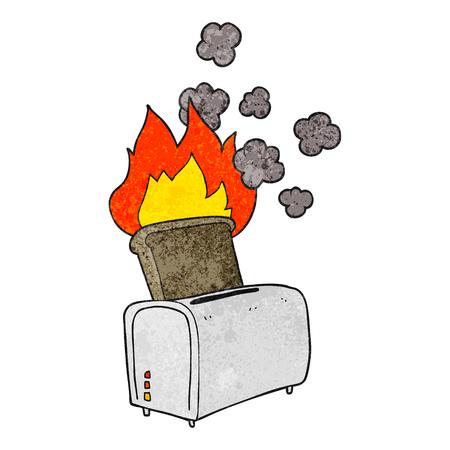 burnt toast: freehand textured cartoon burnt toast