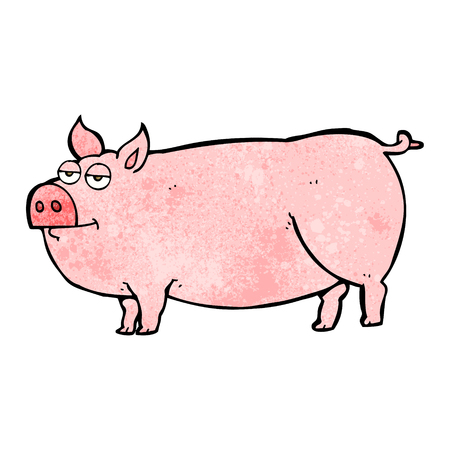 huge: freehand textured cartoon huge pig