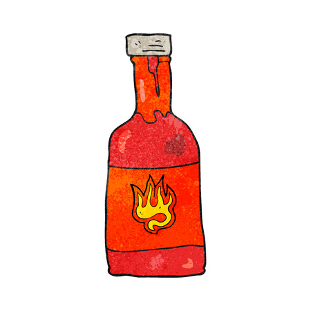 chili sauce: freehand textured cartoon chili sauce bottle