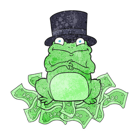 scheming: freehand textured cartoon rich frog in top hat
