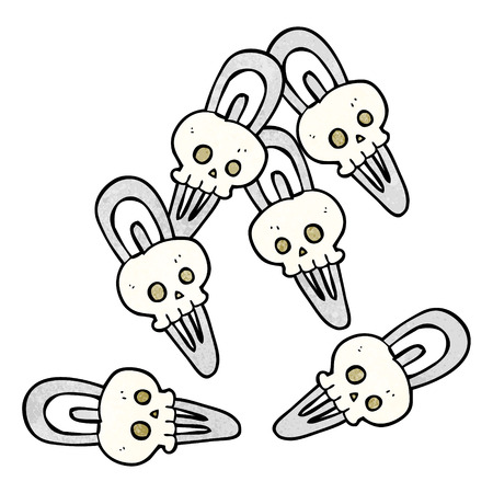 hairclip: freehand textured cartoon skull hairclips