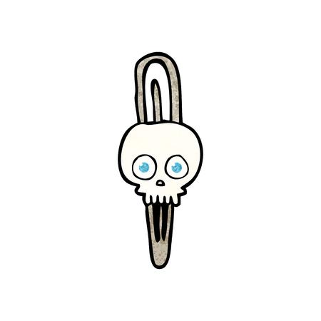 hairclip: freehand textured cartoon skull hairclip Illustration
