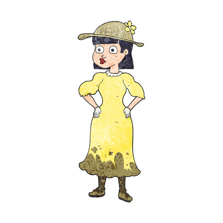 sensible: freehand textured cartoon woman in sensible dress Illustration