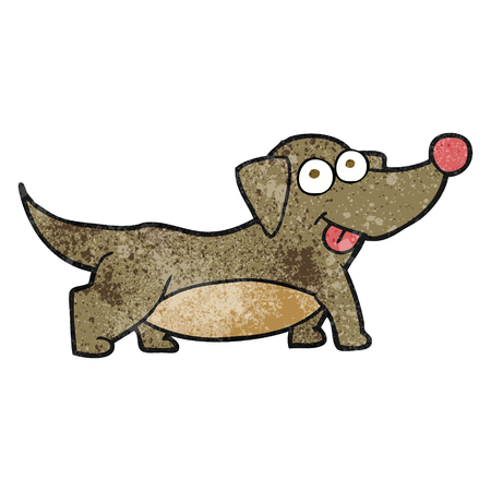 little dog: freehand textured cartoon happy little dog