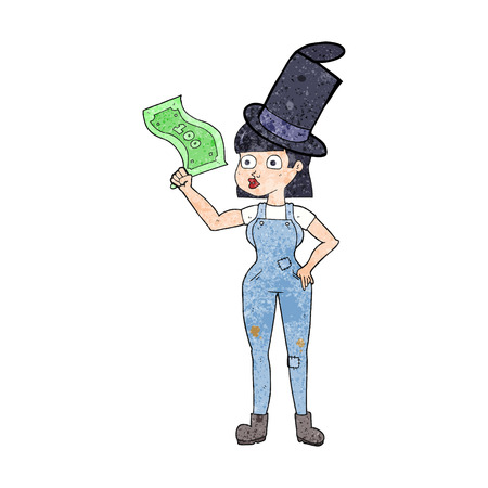 clenching: freehand textured cartoon woman holding on to money