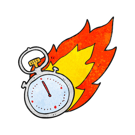 flaming: freehand textured cartoon flaming stop watch Illustration