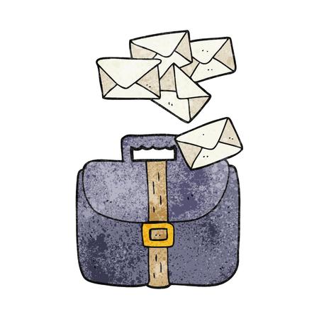 spilling: freehand textured cartoon briefcase spilling letters Illustration